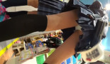 【ロリJKパンチラ盗撮】10代ミニスカじぇいけー二人組みがターゲット!健康的な生脚にニーソの組合せが最高!逆さ撮りカメラでパンツもバッチリ接写撮り。足見てハァハァ、パンツ見てハァハァ。