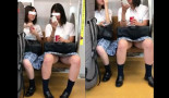 【電車内パンチラ盗撮】顔出し有り。気がゆるんで大股開き!正面からロリJKのアソコ隠し撮り!逆さ撮りに飽きたら正面パンチラへ。大股開きのJKって素敵やん♪